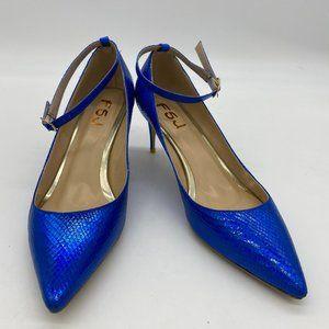 FSJ Blue Pointy Toe Stilettos Mid Heel Ankle Strap